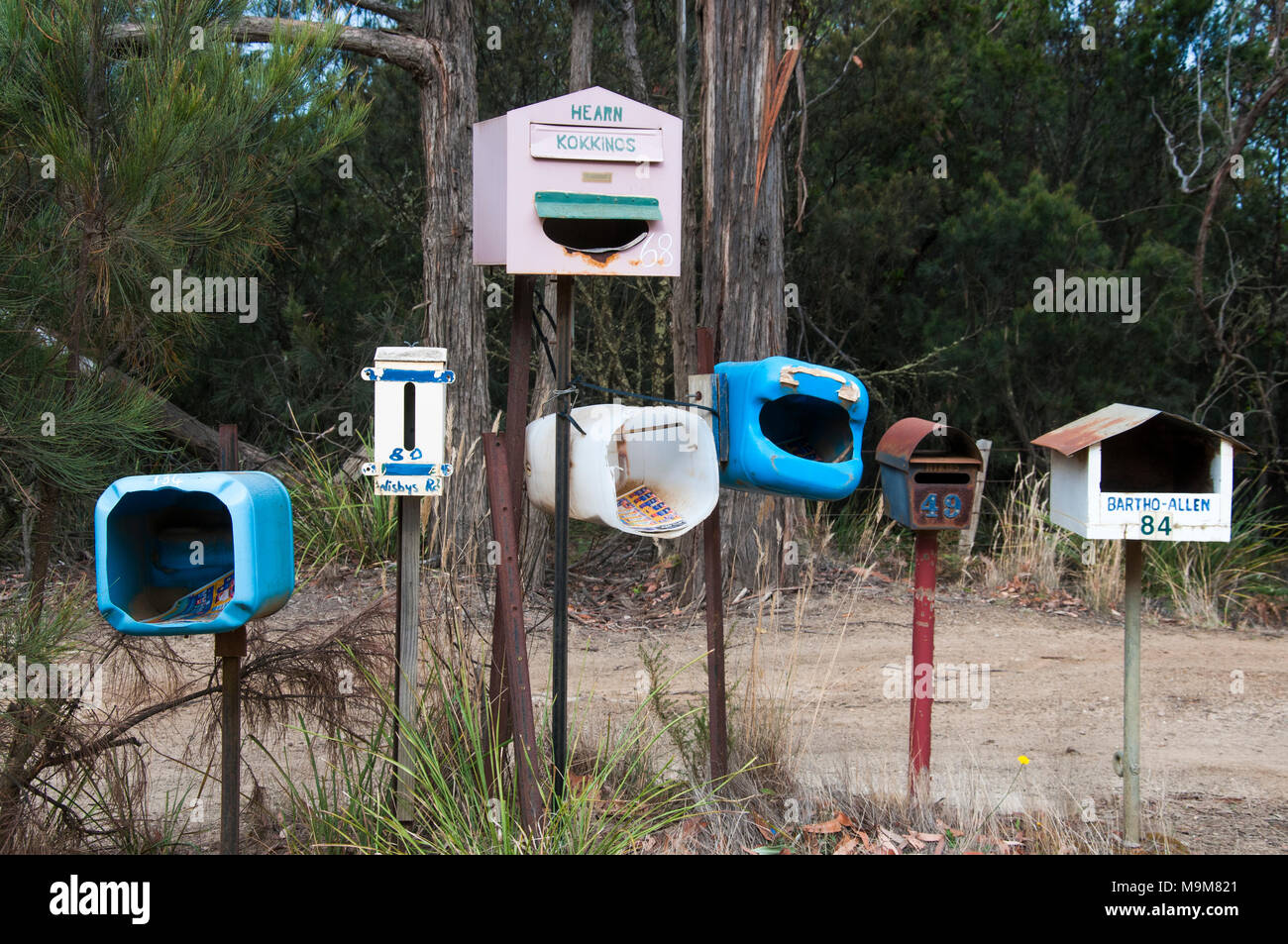 Rural mailboxes on sparsely-populated Bruny Island, Tasmania, Australia - Stock Image