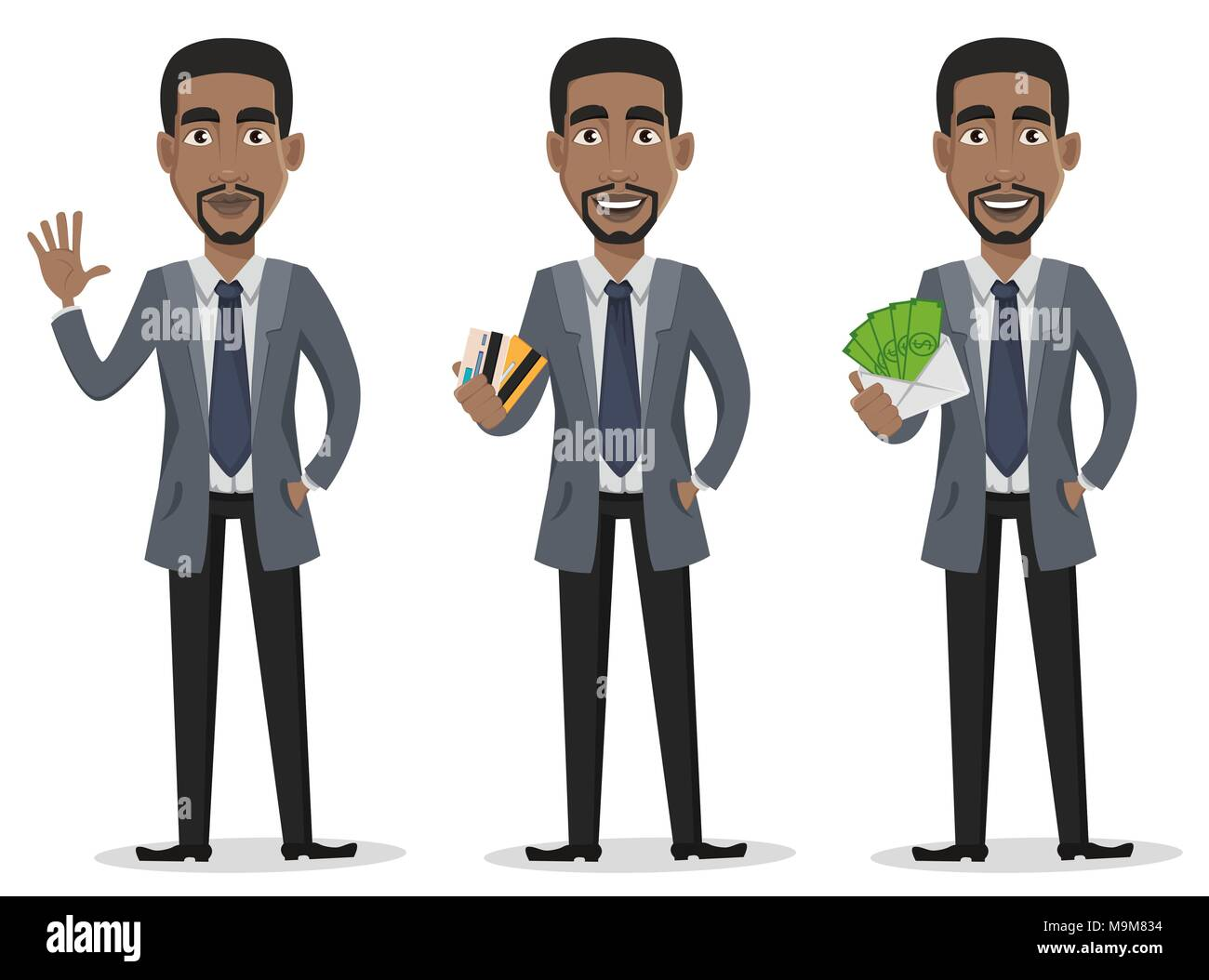 African american business man cartoon character set businessman in african american business man cartoon character set businessman in office clothes waves hand holds credit cards and holds envelope with money vecto colourmoves