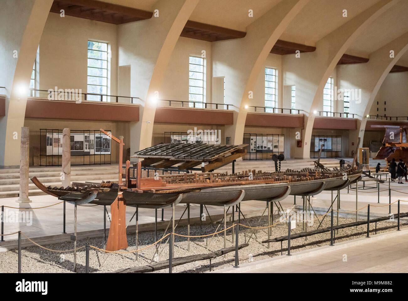 Nemi. Lazio. Italy. Museo delle navi romane di Nemi, (Museum of Ancient Roman Ships), displaying models of the remains of Roman Emperor Caligula's - Stock Image