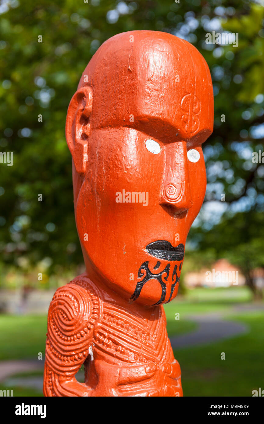 new zealand rotorua new zealand  maori carving facial tattoos maori tattoo face government gardens rotorua new zealand north island nz - Stock Image