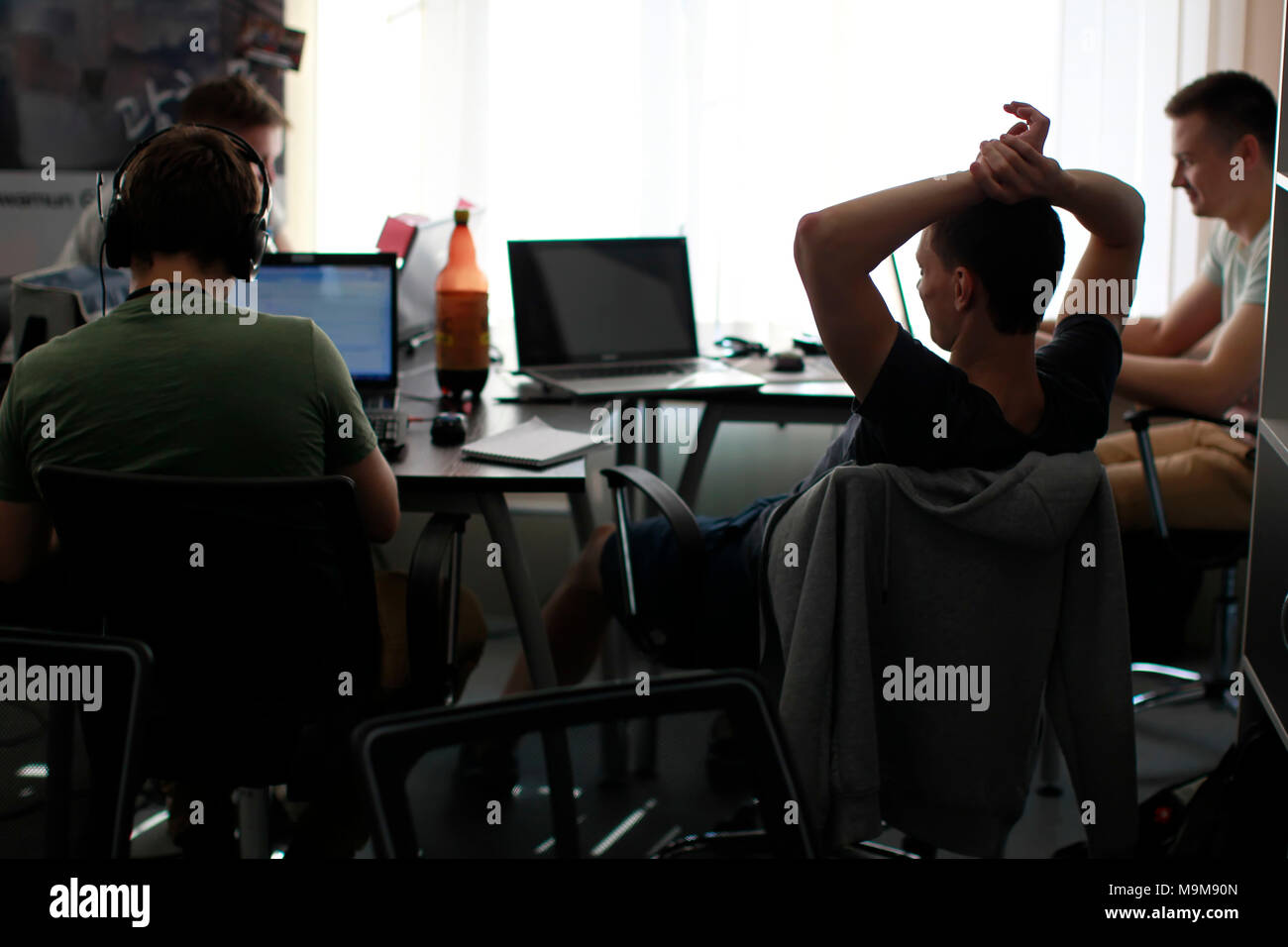 Belarus Minsk 06 August 2016 The Park of High Technologies. Competitions programmers.Programmers for work rest - Stock Image