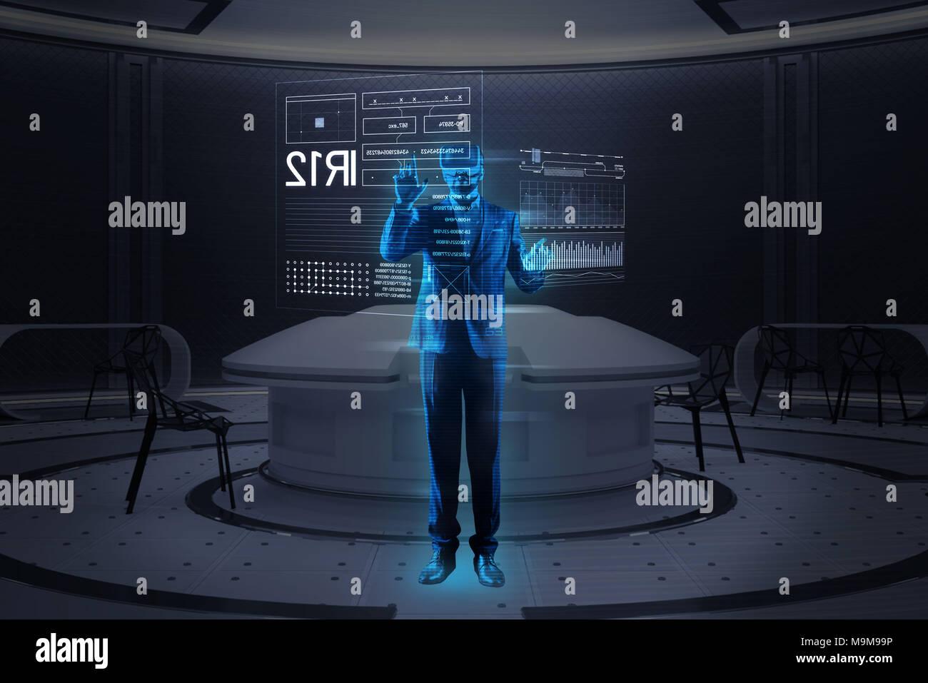 Progressive programmer making a hologram image while working - Stock Image