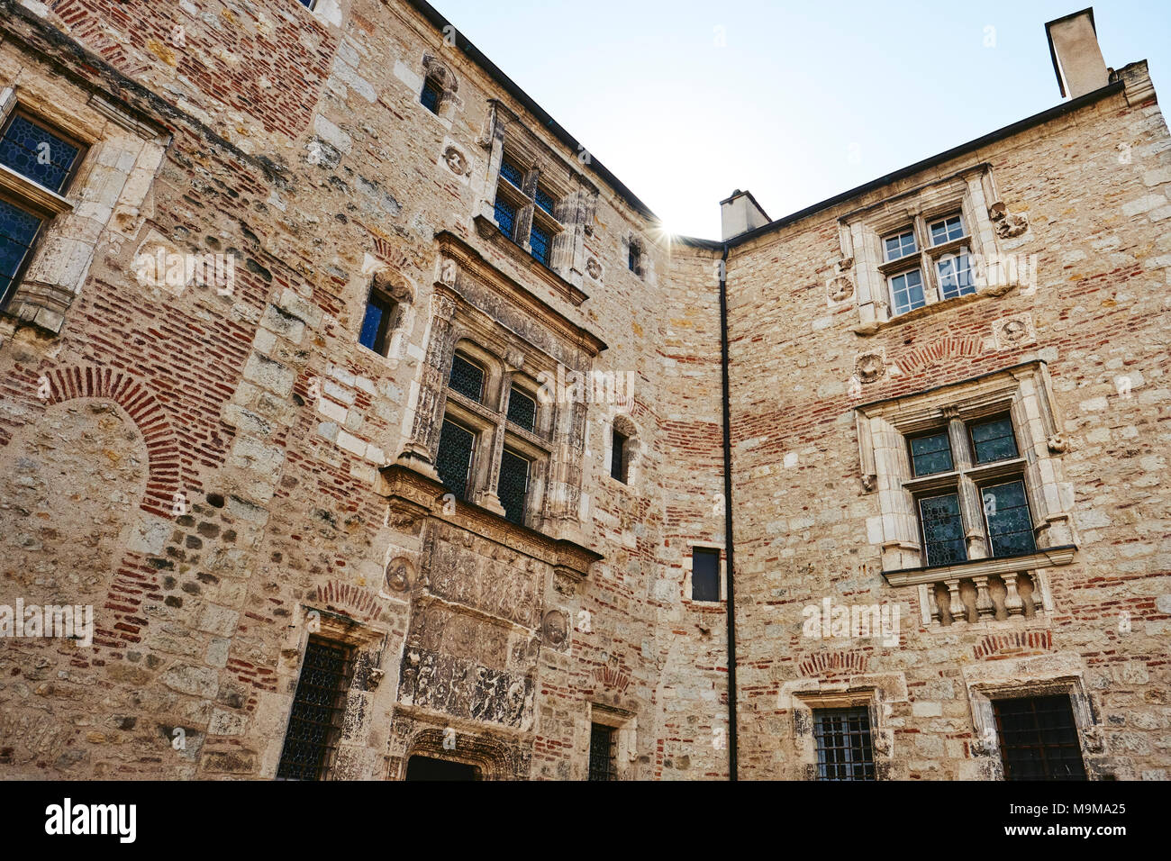 A building detail in the historic town of Cahors in the Lot region of France. Stock Photo
