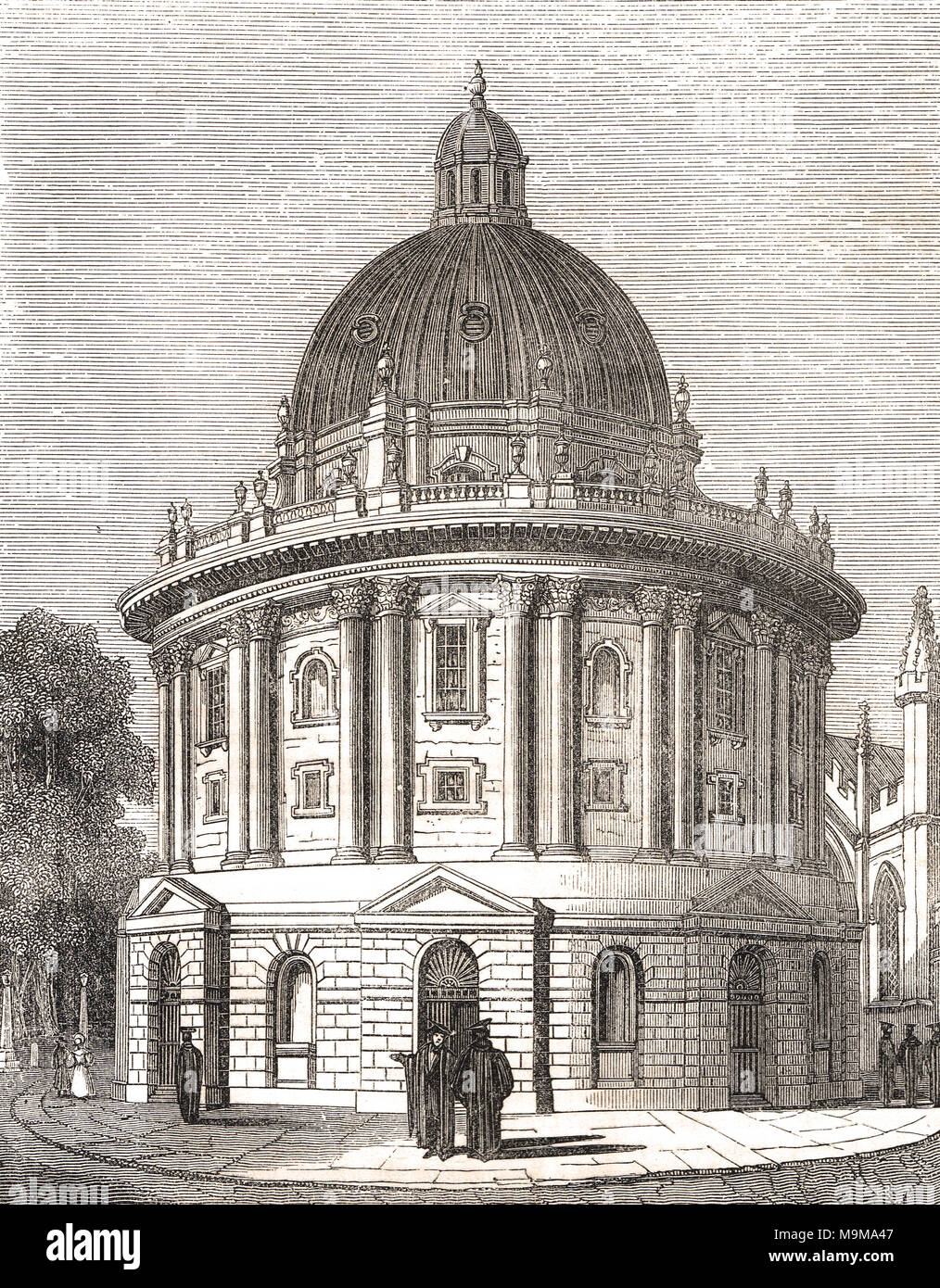 Radcliffe camera, Radcliffe Square, Oxford, England, 19th century scene - Stock Image