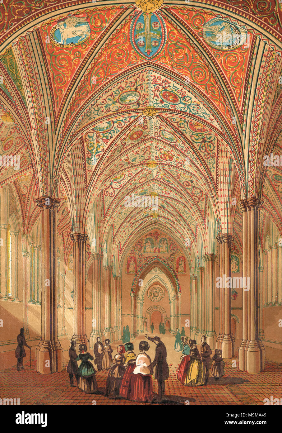 Interior of the Temple Church, City of London, England in the 19th century - Stock Image