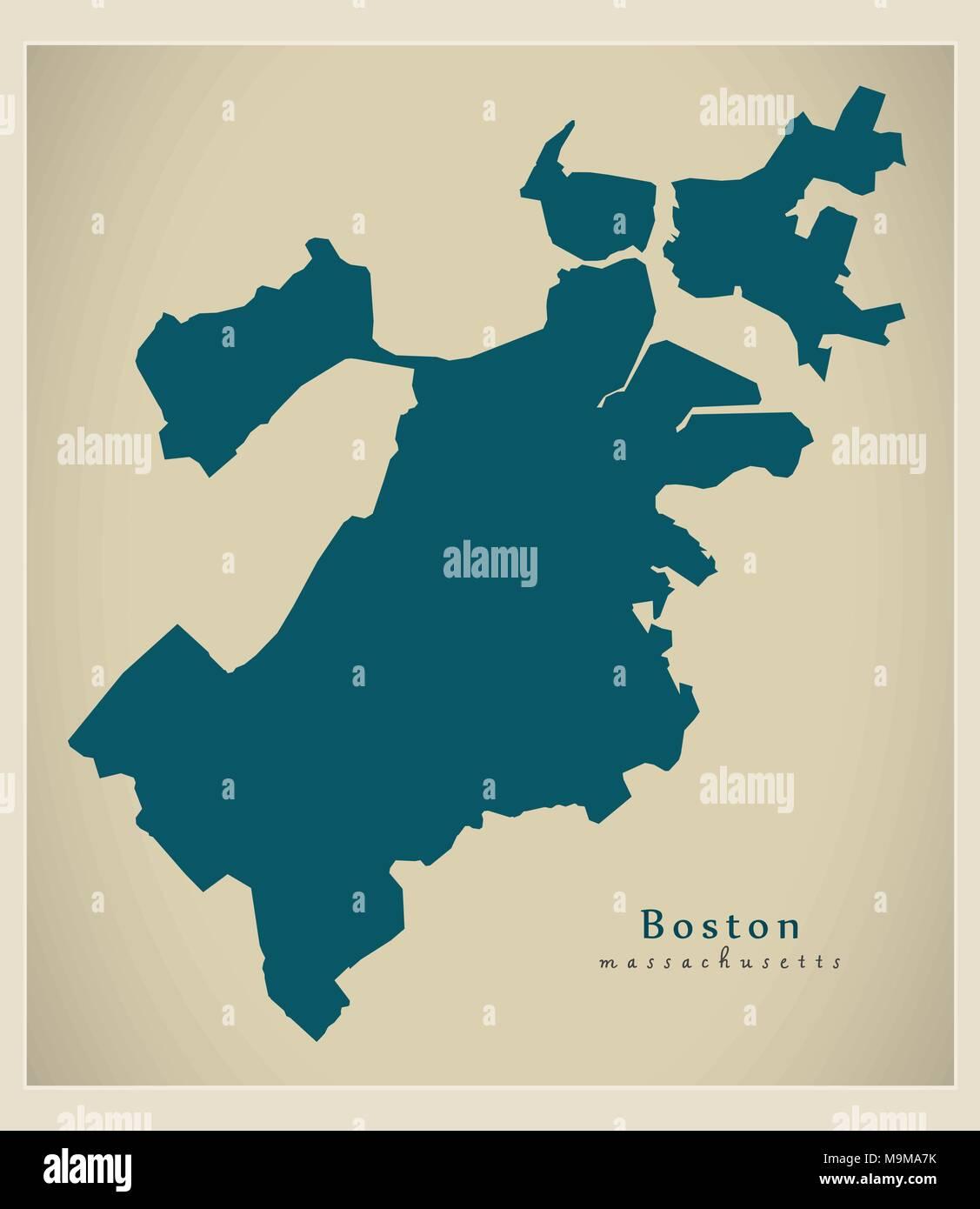 Modern Map Boston Massachusetts city of Vector