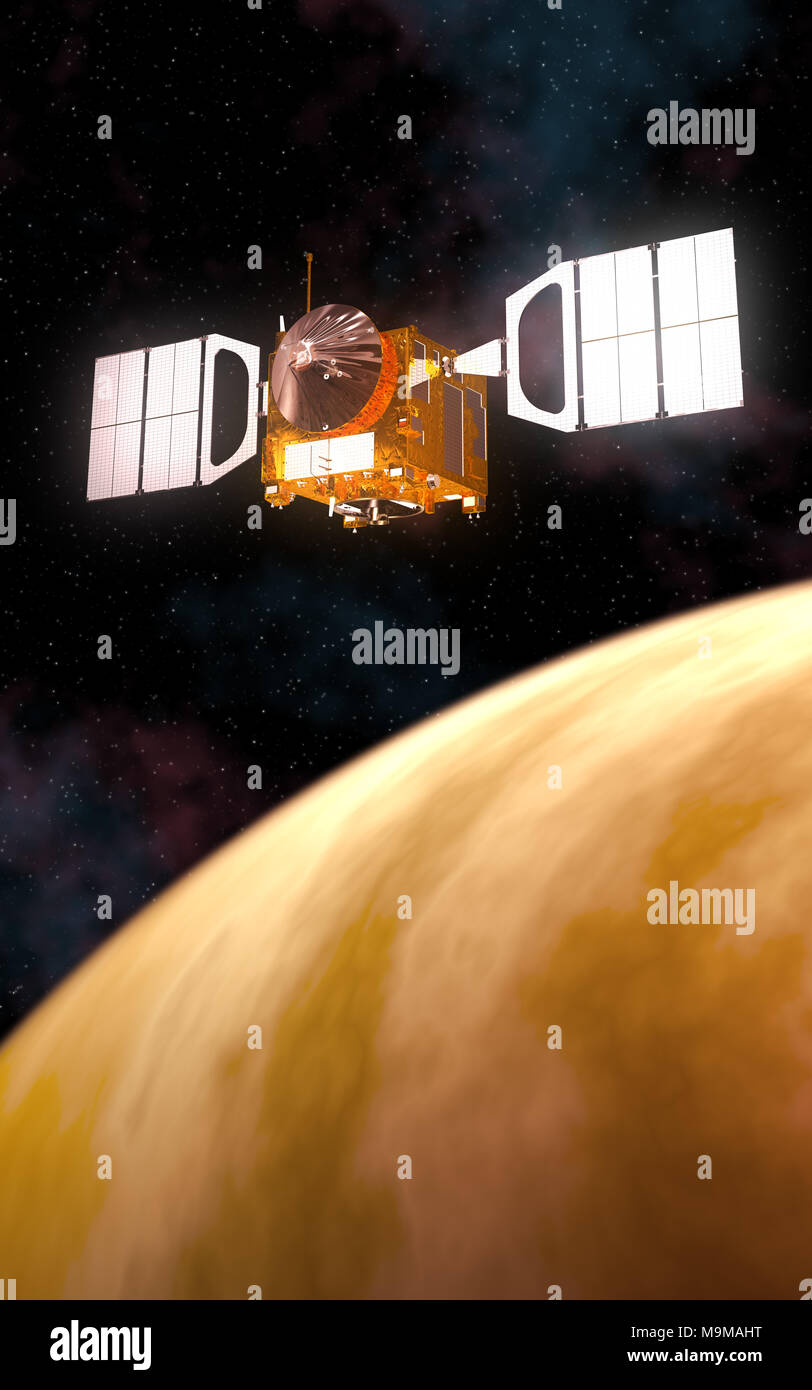 Interplanetary Space Station Orbiting Yellow Planet. 3D Illustration. - Stock Image