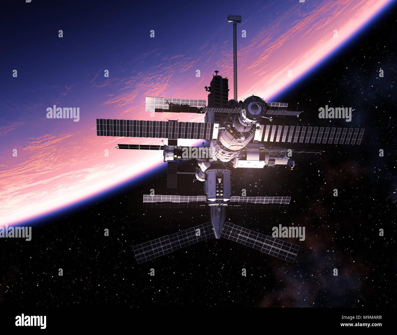 Space Station Orbiting Blue Planet. 3D Illustration. - Stock Image