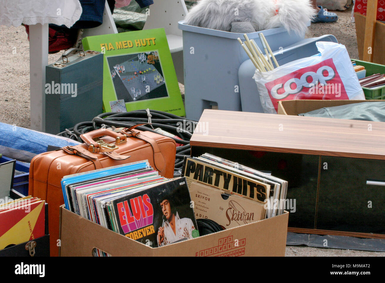 FLEA MARKET with old things, 2015 - Stock Image