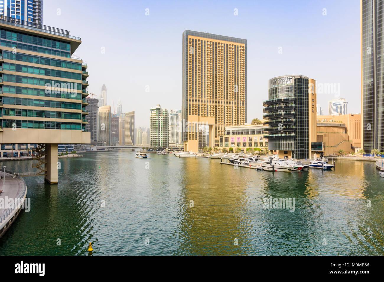Dubai Marina high-rise buildings around Pier 7 restaurant development, Dubai Marina, Dubai, UAE - Stock Image