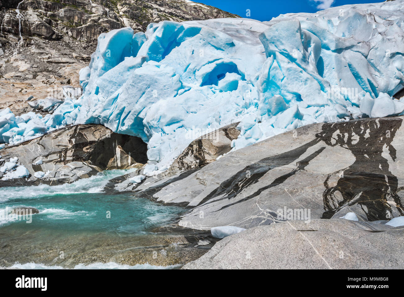 where the glacier is calving, Norway, Nigardsbreen glacier, Jostedalen, Jostedalsbreen National Park - Stock Image