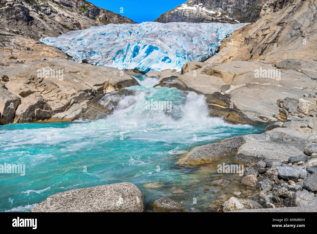 the Nigardsbreen glacier and its bassin, Norway, Jostedalen, Jostedalsbreen National Park near Gaupne - Stock Image