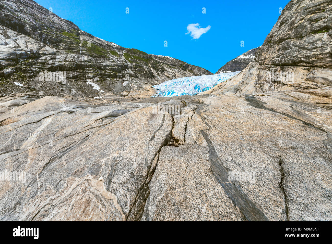 the traces of Nigardsbreen glacier, Norway, Jostedalsbreen National Park - Stock Image