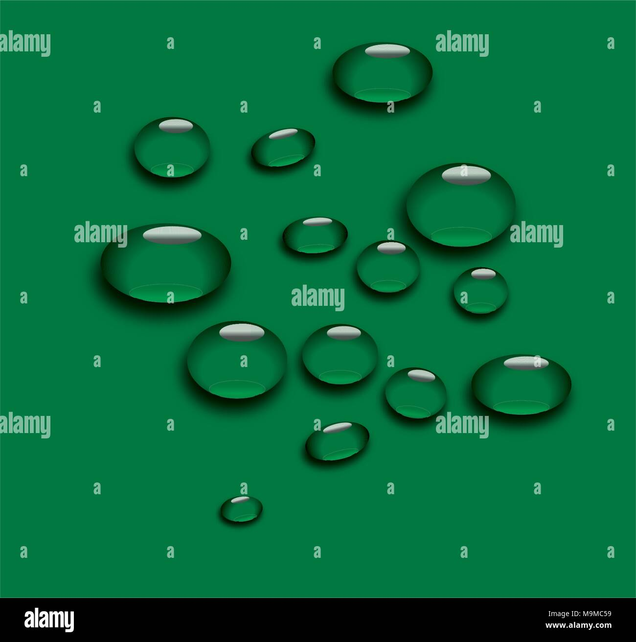 Vector set of realistic water droplets - Stock Vector