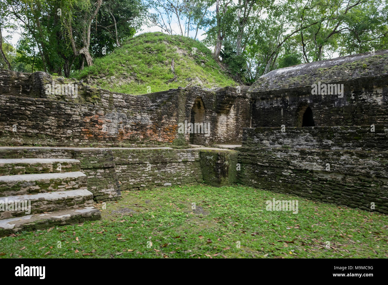 Ancient Mayan ruins of Cahel Pech, Belize including a temple and residential area - Stock Image