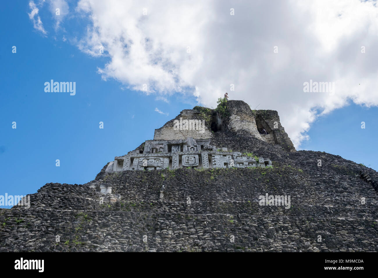 Ancient Mayan temple ruins and structures in Xunantunich, Belize Stock Photo