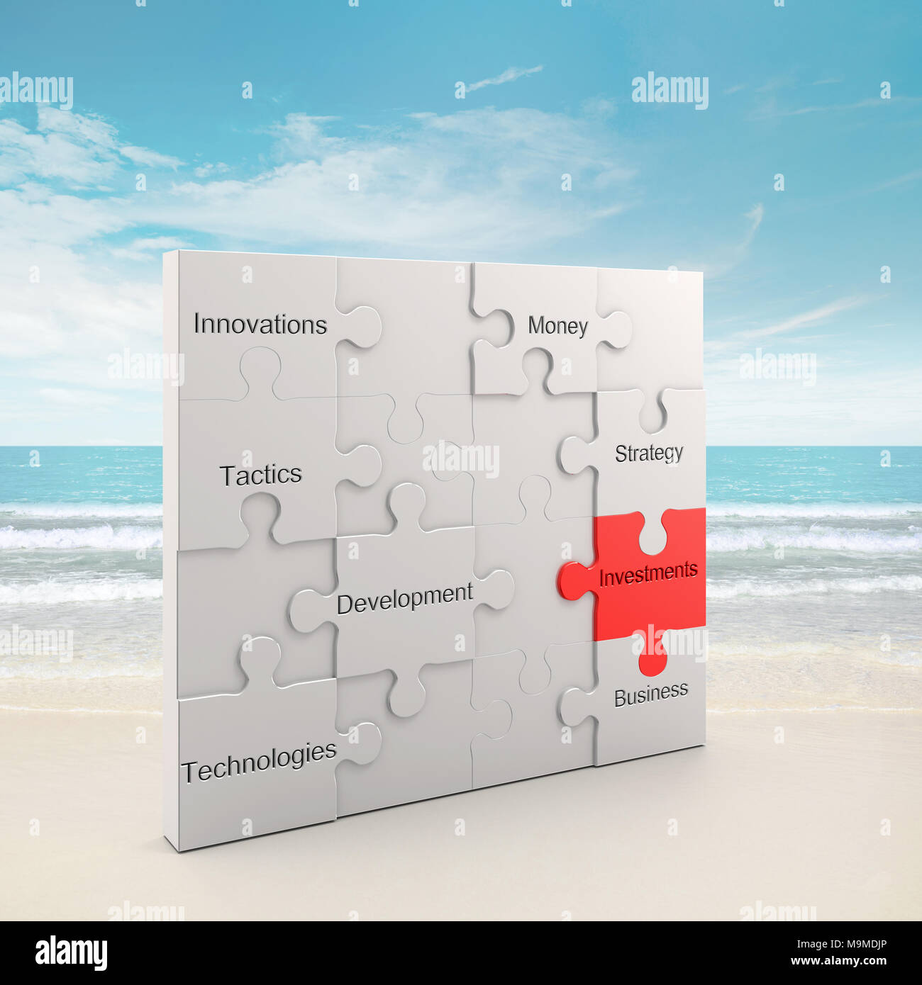 Investments puzzle concept 3d rendering - Stock Image