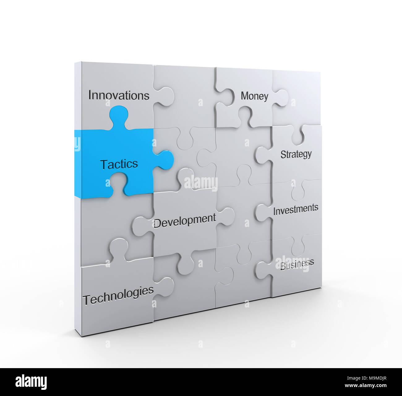 Tactics concept graphic background 3d rendering - Stock Image