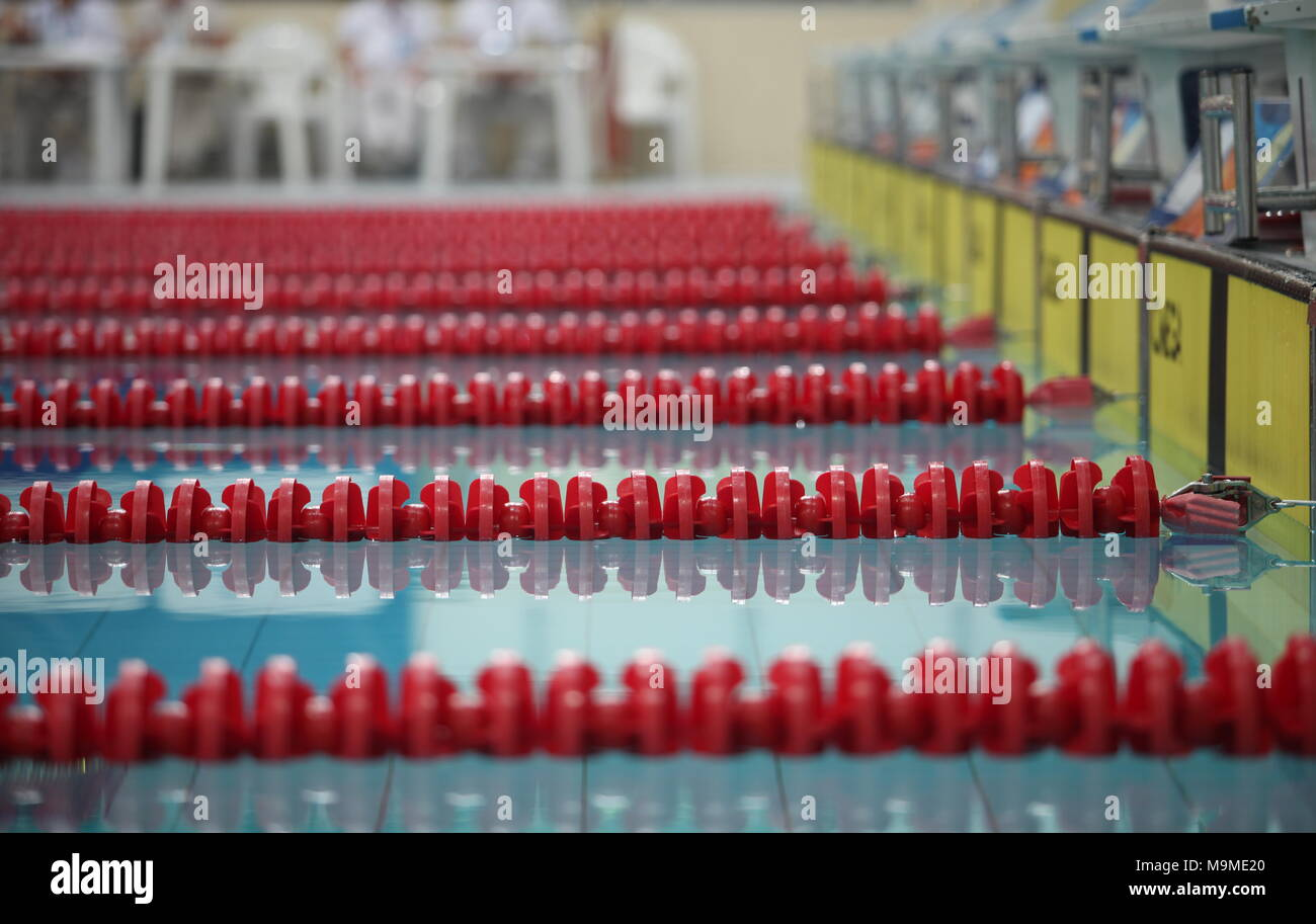 red lane marker  empty swimming pool close to - Stock Image
