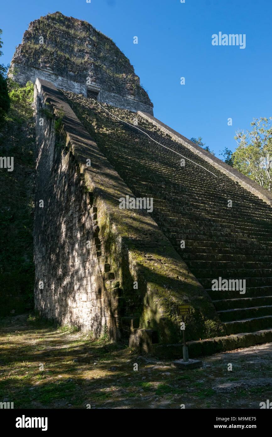 Ancient Mayan archeological ruin in Tikal, Guatemala - Stock Image