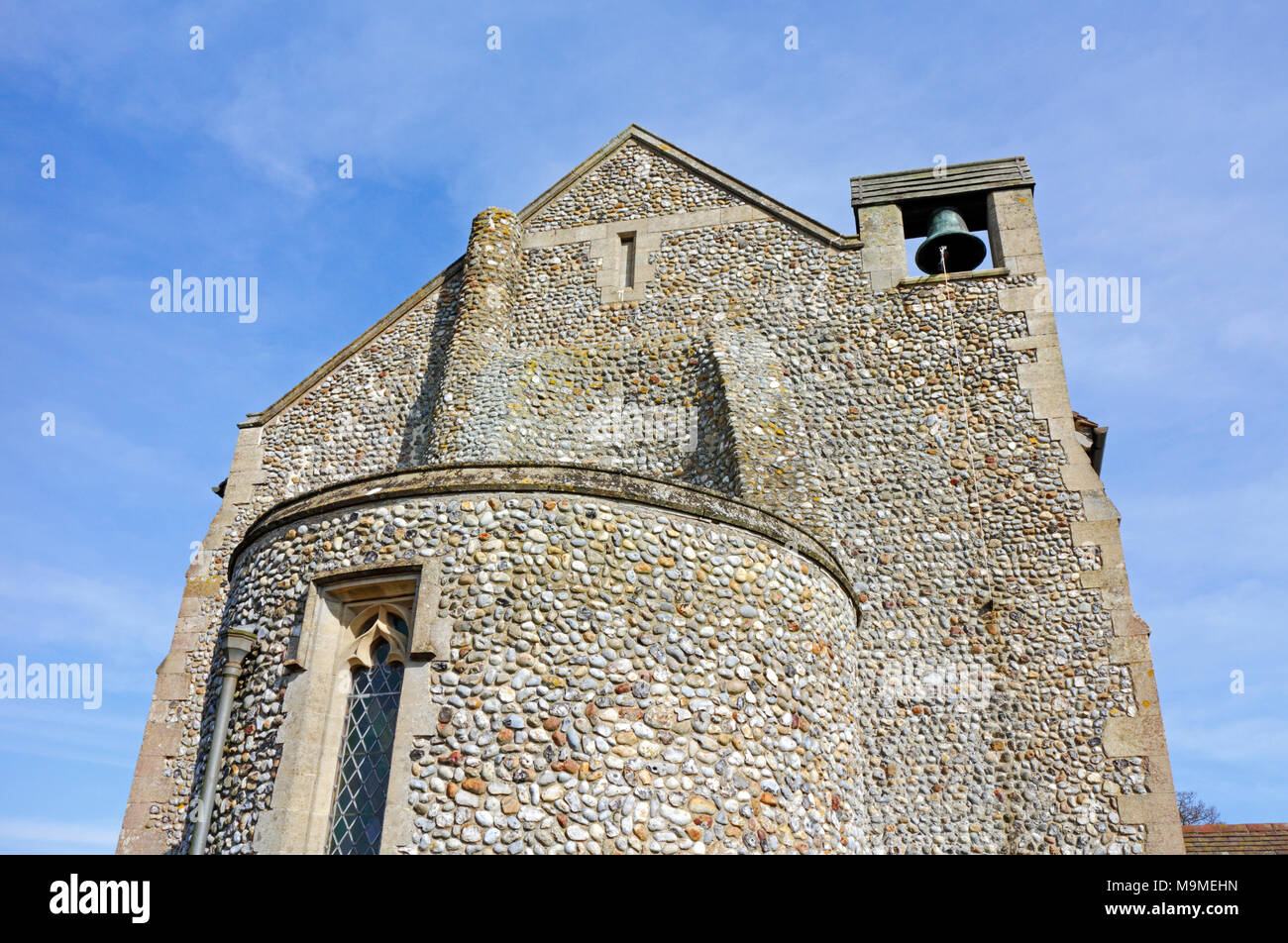 A view of the rebuilt west end of the parish church of St Nicholas at Dilham, Norfolk, England, United Kingdom, Europe. - Stock Image