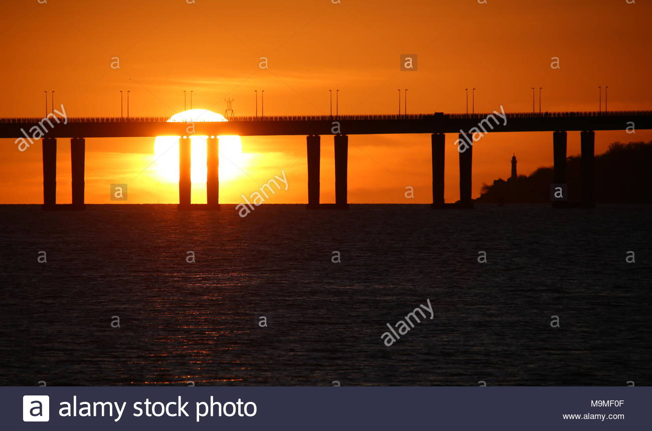 Tay Road Bridge at dawn on first day of British Summer Time Dundee Scotland  March 2018 - Stock Image