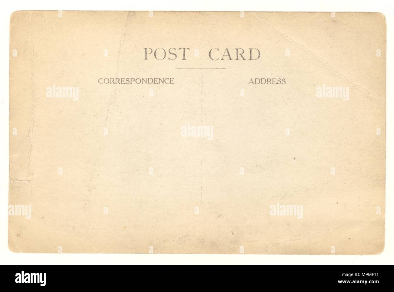 Reverse early 1900s blank postcard - Stock Image