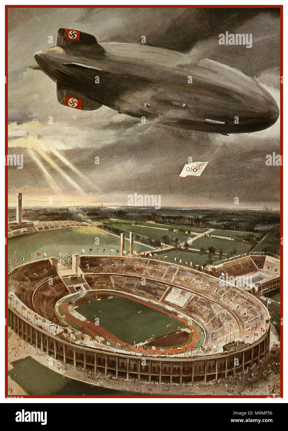 Hindenburg Zeppelin Airship Vintage Poster illustration of Nazi Hindenburg Zeppelin Airship flying Olympic Flag with Swastika Tail Fin over the Berlin Olympic Games Stadium during the opening ceremony of the Olympic Games. - Stock Image