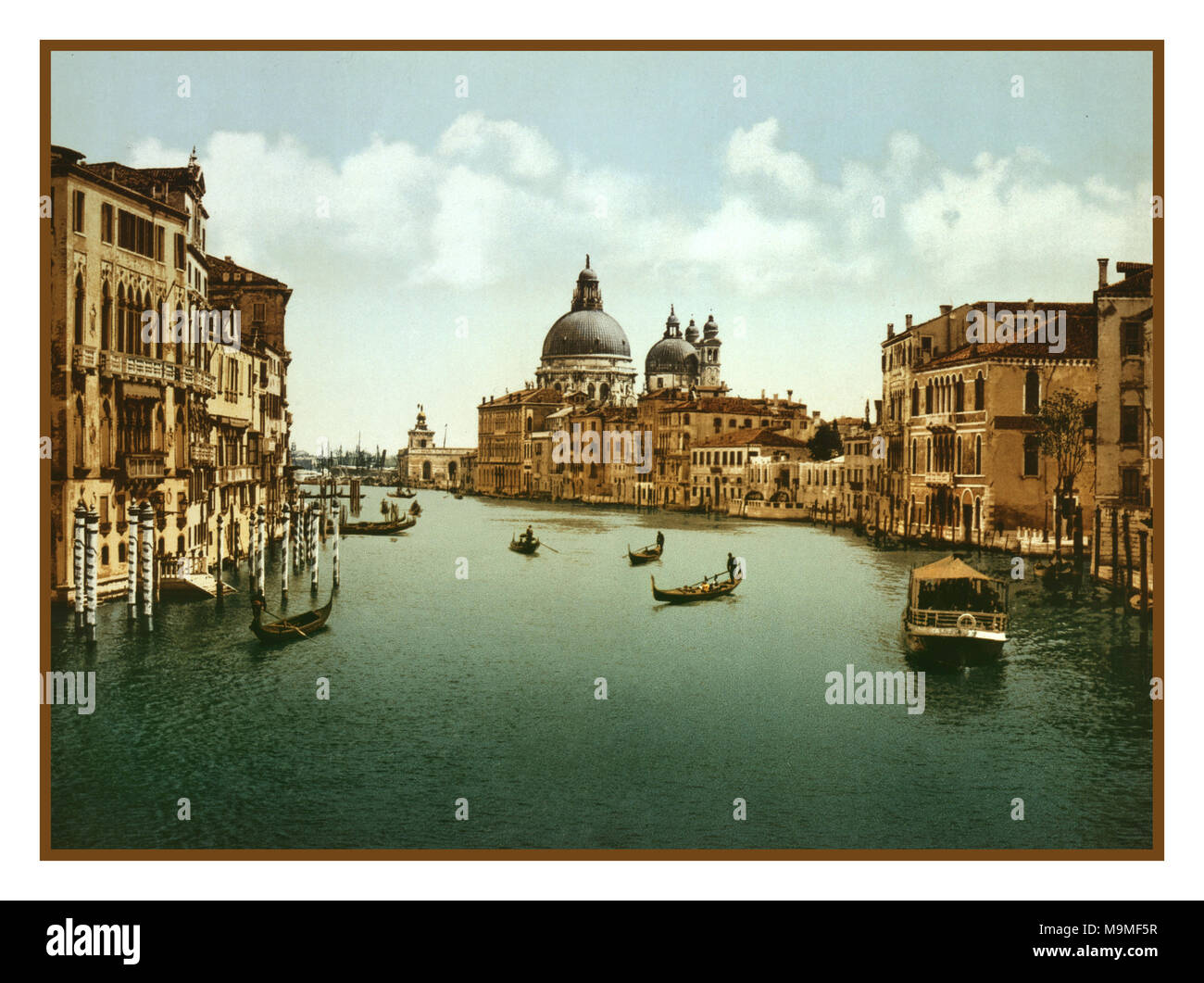 Vintage Old Historic Grand Canal Venice Photochrome 1890-1900's Historic Vintage Old Grand Canal view Venice, Italy. Using post colouring technique via transfer onto lithographic printing plates from Black and White negative images. - Stock Image
