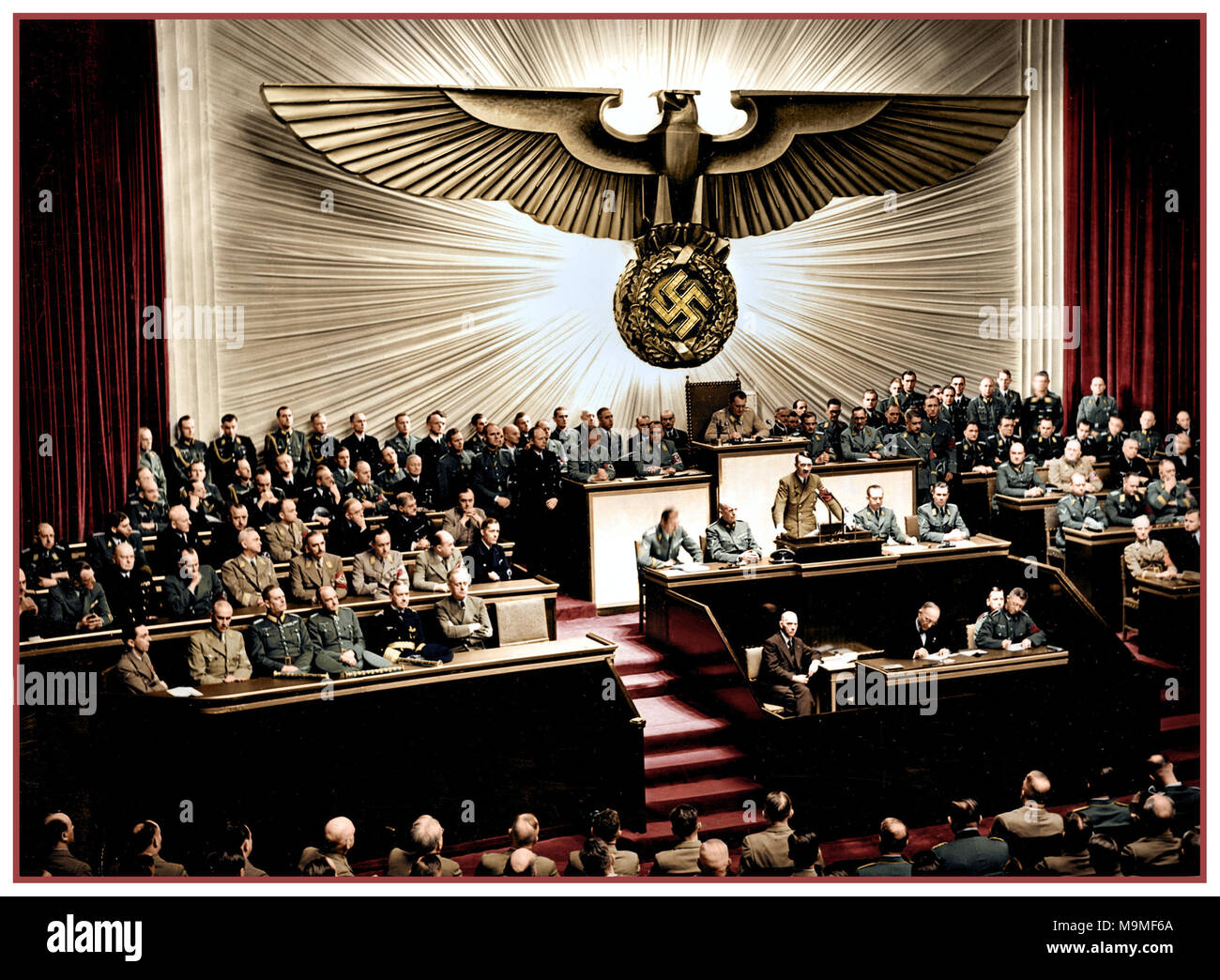 1940's Vintage WW2 Adolf Hitler delivers a speech at the Kroll Opera House to the men of the Reichstag on the subject of Roosevelt and the war in the Pacific, declaring war on the United States. Berlin 1941 - Stock Image