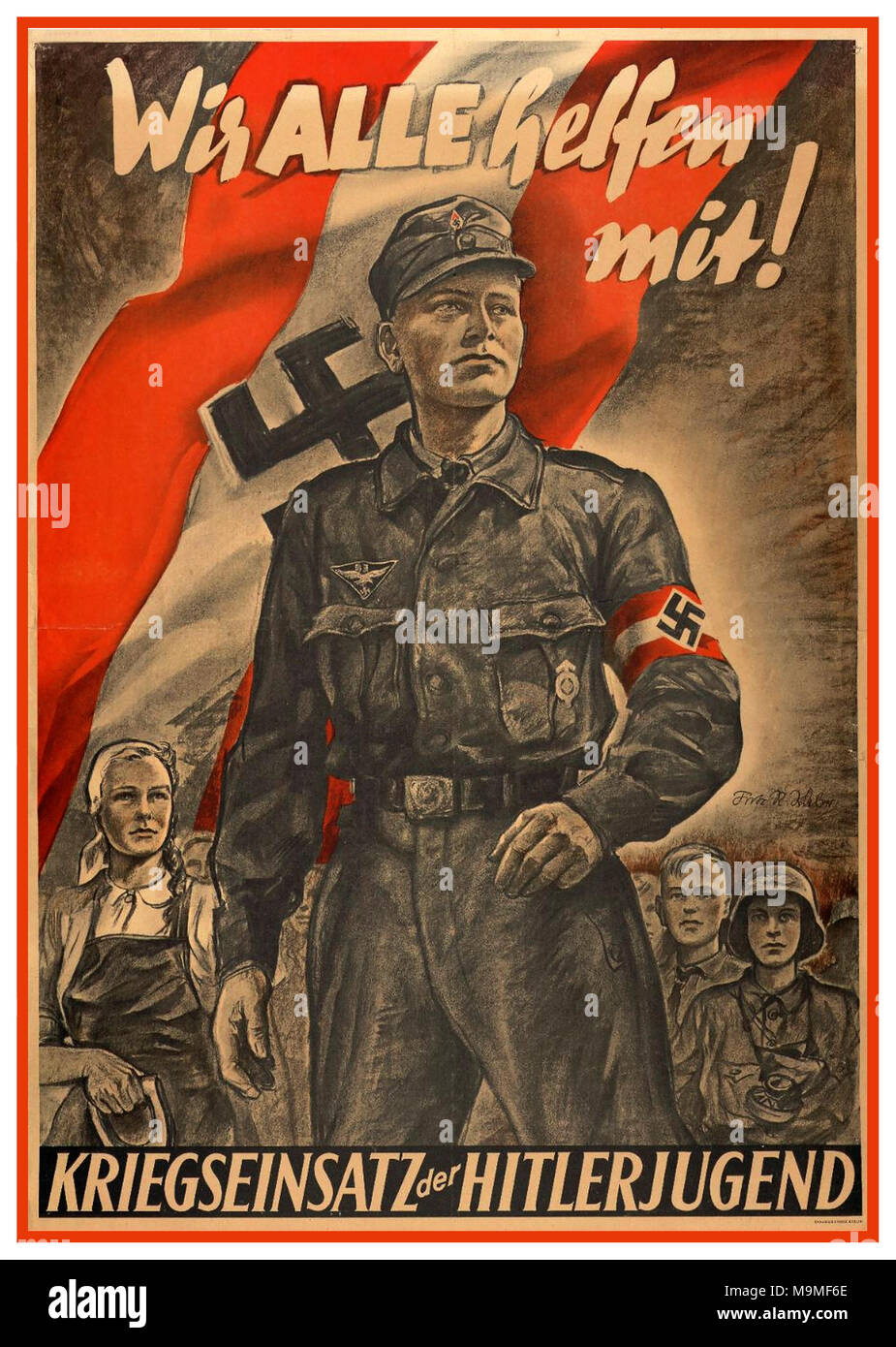 WW2 Nazi Germany Propaganda 1944-45 'We all help with...War efforts of the Hitler Youth' - Stock Image