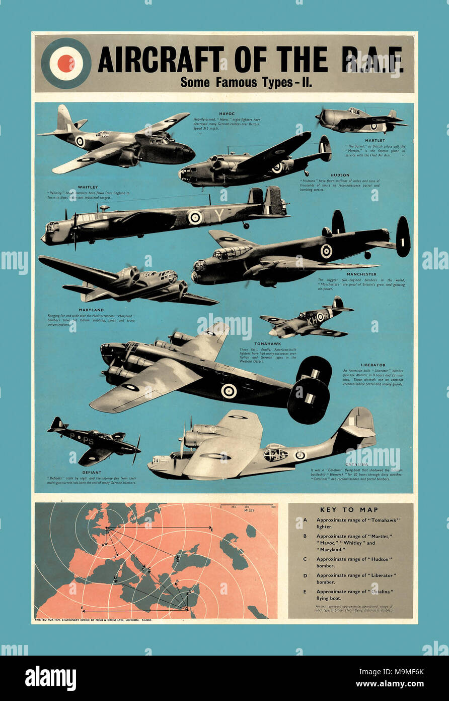 British Propaganda Poster supporting the Royal Airforce 1942 Aircraft types Of The R.A.F. During WW2 and The Battle Of Britain - Stock Image