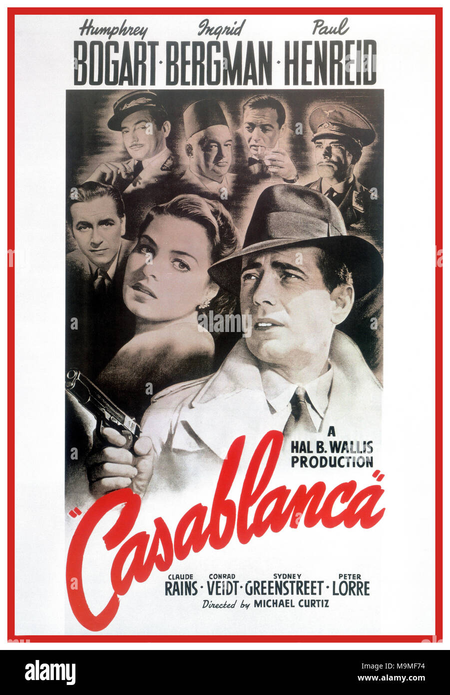 1940's Vintage Film Movie Poster Casablanca a 1942 American romantic drama film directed by Michael Curtiz. The film stars Humphrey Bogart, Ingrid Bergman, and Paul Henreid; it also features Claude Rains, Conrad Veidt, Sydney Greenstreet, Peter Lorre, and Dooley Wilson. Set during  World War II, it focuses on an American expatriate who must choose between his love for a woman and helping her and her husband, a Czech Resistance leader, escape from the Vichy-controlled city of Casablanca to continue his fight against the Nazis - Stock Image