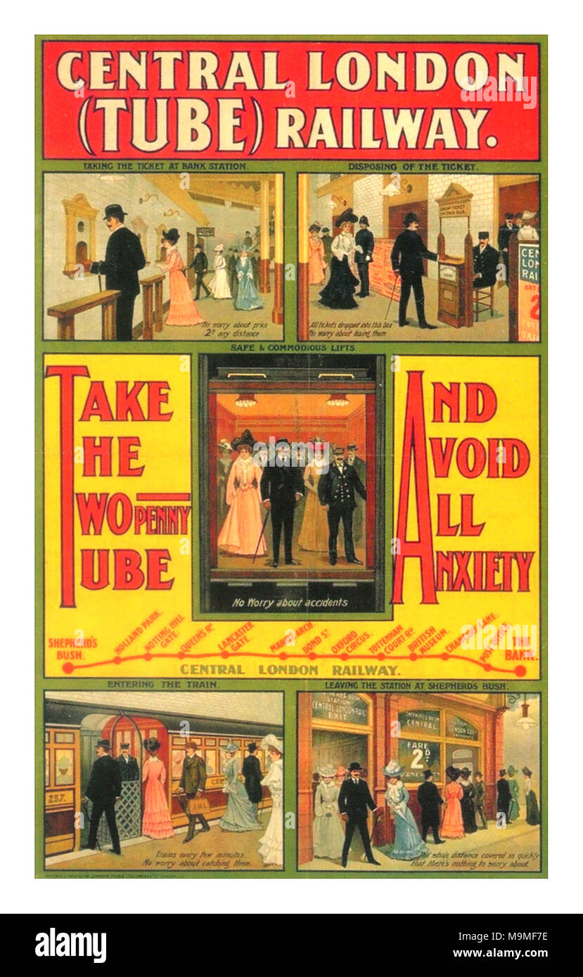 1900's Central London Vintage Underground Tube Poster 1905 - Stock Image