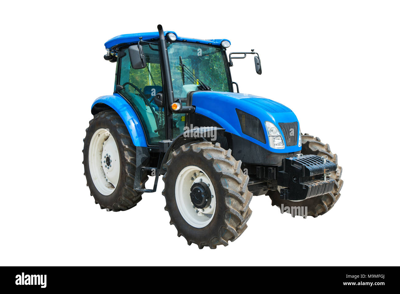 Modern agricultural tractor isolated on white background with clipping path. - Stock Image
