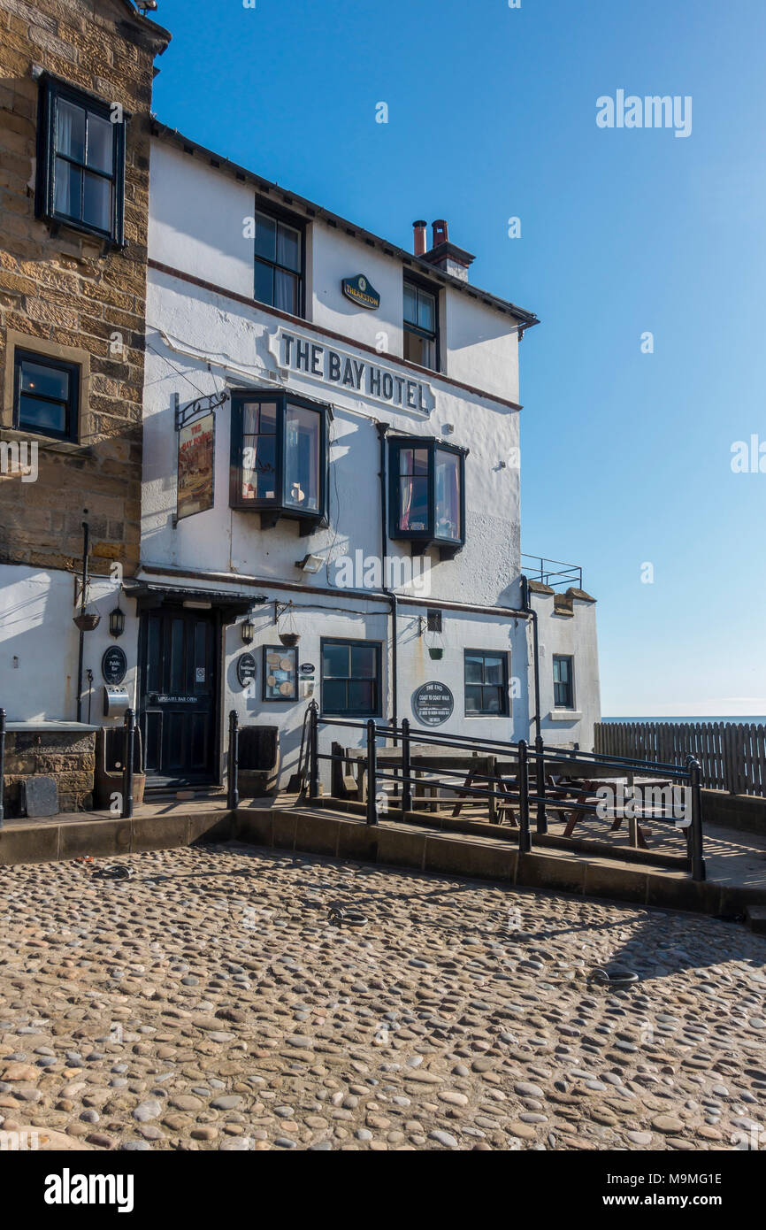 Bay Hotel, Robin Hood's Bay North Yorkshire, termination of the Coast-to-Coast long distance cross country walk. - Stock Image