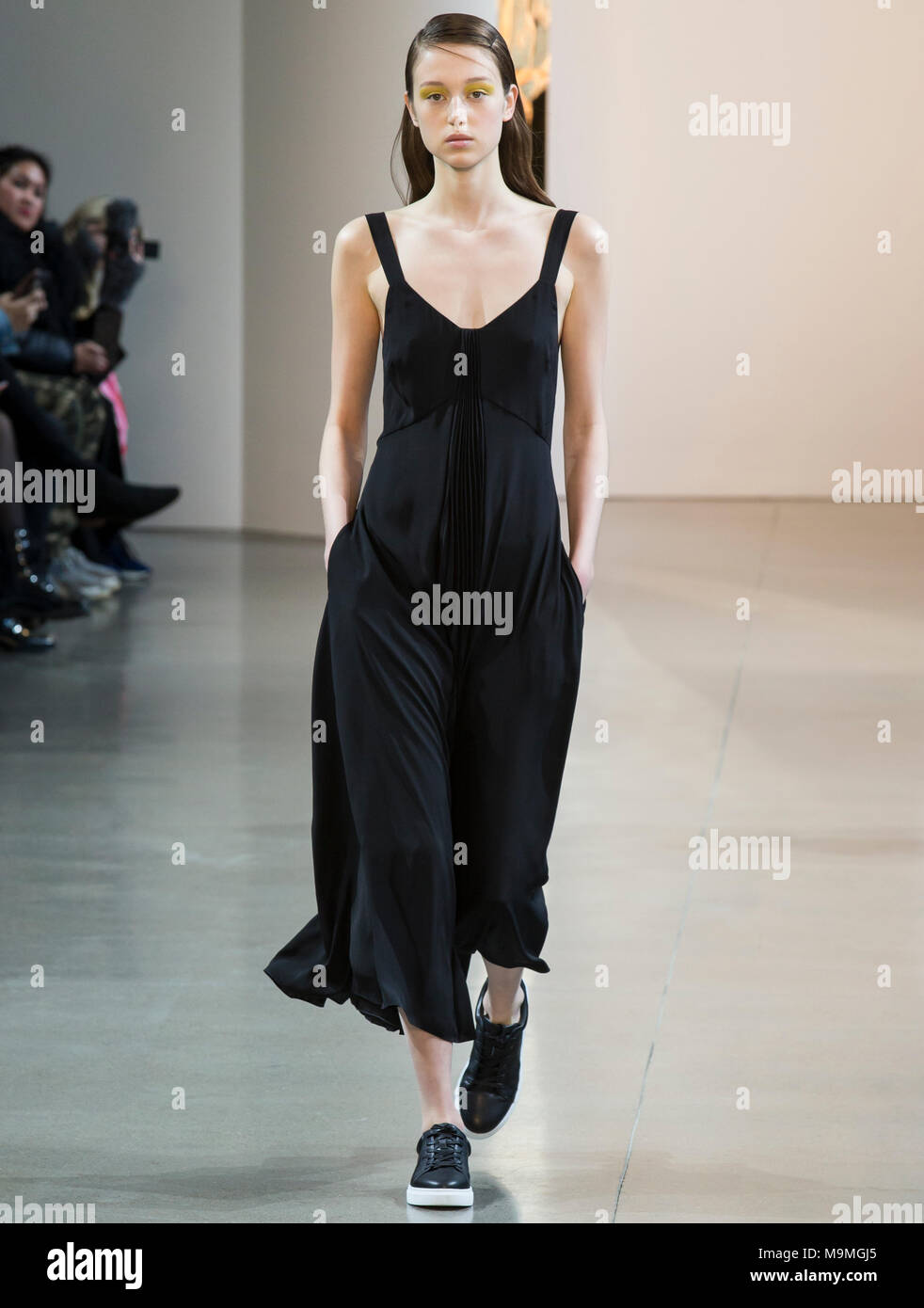 NEW YORK, NY - February 08, 2018: Soso Korell walks the runway at the Noon by Noor Fall Winter 2018 fashion show during New York Fashion Week - Stock Image