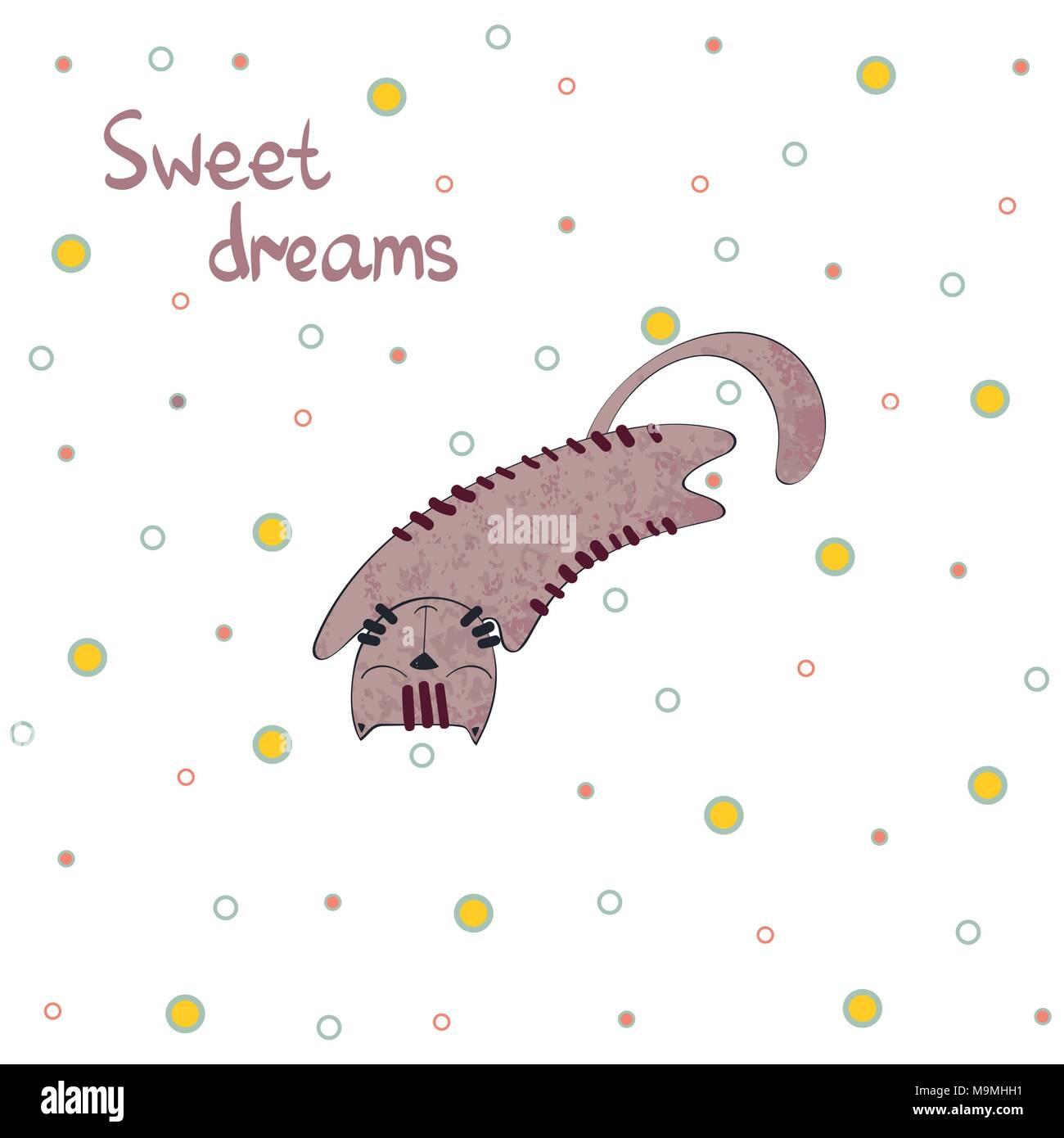 Cartoon Sleeping cat. - Stock Image