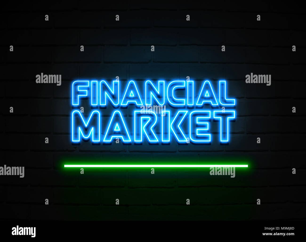 Financial Market neon sign - Glowing Neon Sign on brickwall wall - 3D rendered royalty free stock illustration. Stock Photo