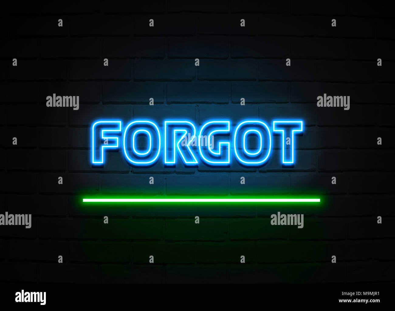 Forgot neon sign - Glowing Neon Sign on brickwall wall - 3D rendered royalty free stock illustration. - Stock Image