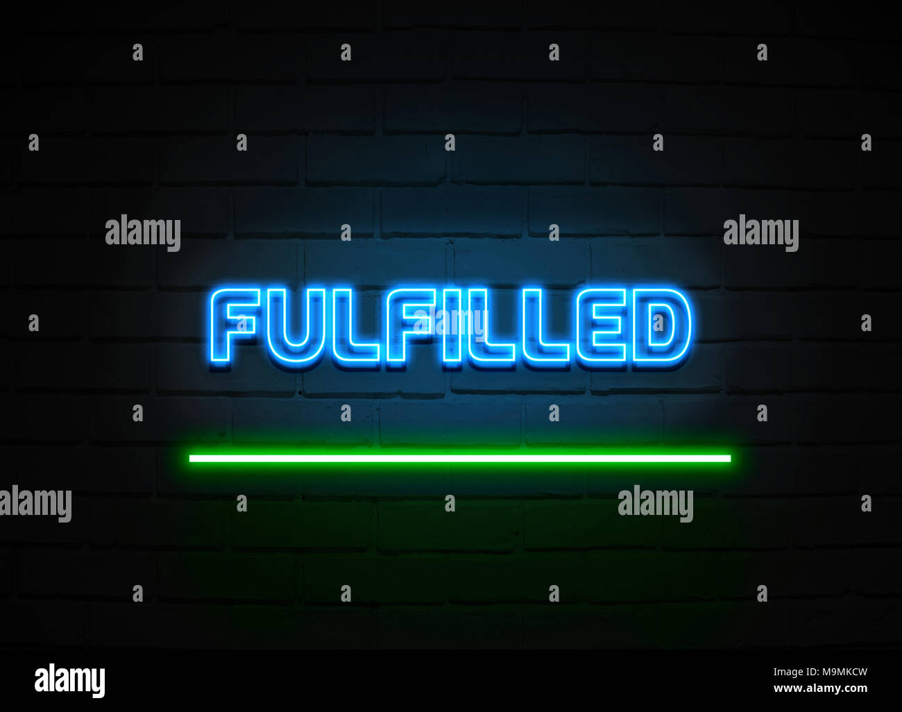 Fulfilled neon sign - Glowing Neon Sign on brickwall wall - 3D rendered royalty free stock illustration. - Stock Image