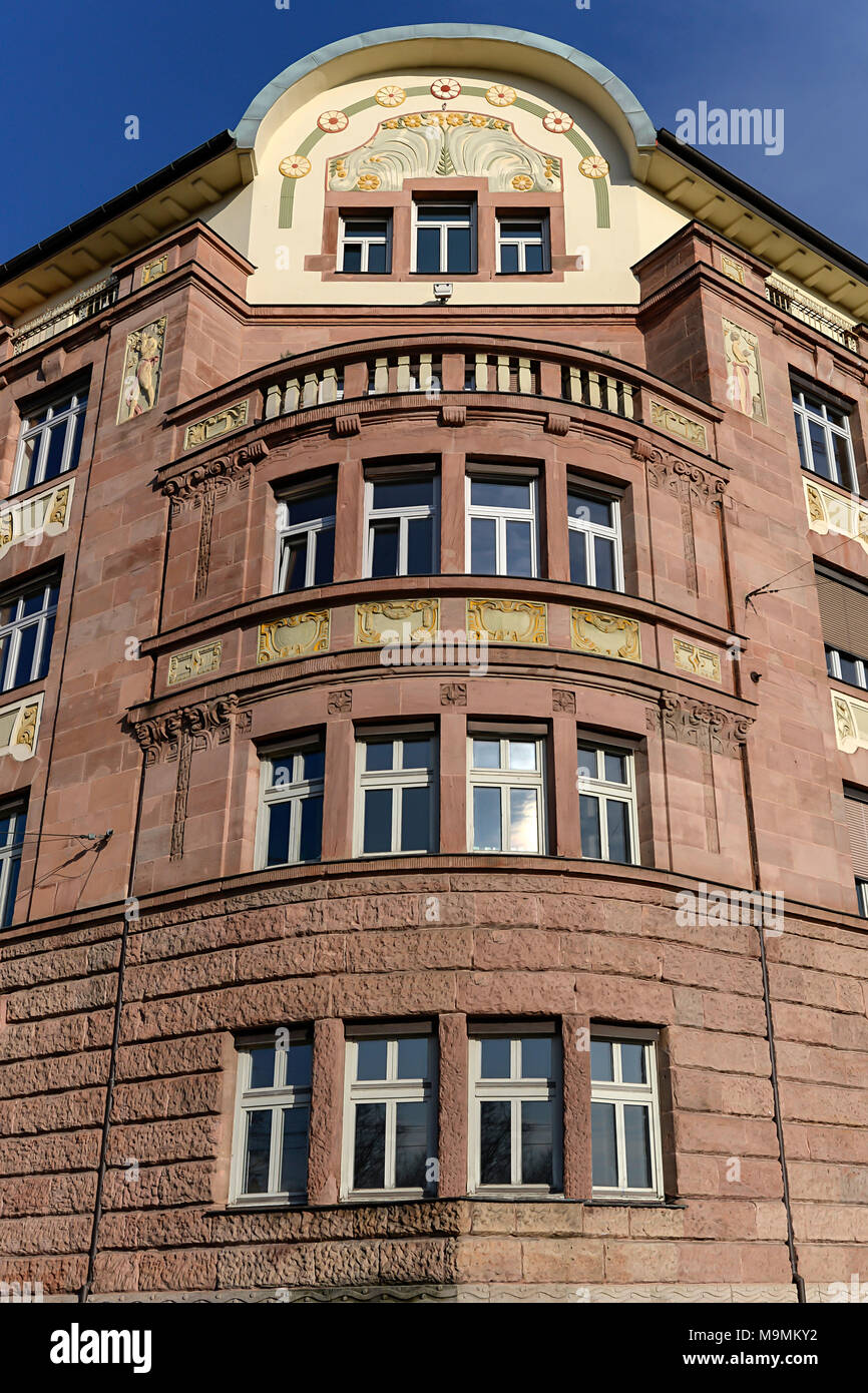 Facade, Office and commercial building, Art Nouveau, built around 1900, Nuremberg, Middle Franconia, Bavaria, Germany - Stock Image
