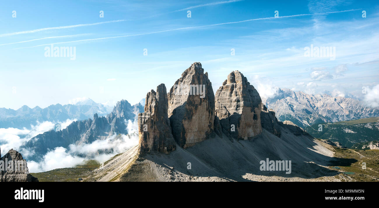 Northern walls of the Three Peaks of Lavaredo from the Paternkofel, Sexten Dolomites, South Tyrol, Trentino-South Tyrol Stock Photo