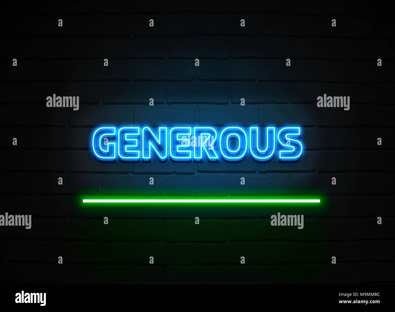 Generous neon sign - Glowing Neon Sign on brickwall wall - 3D rendered royalty free stock illustration. - Stock Image