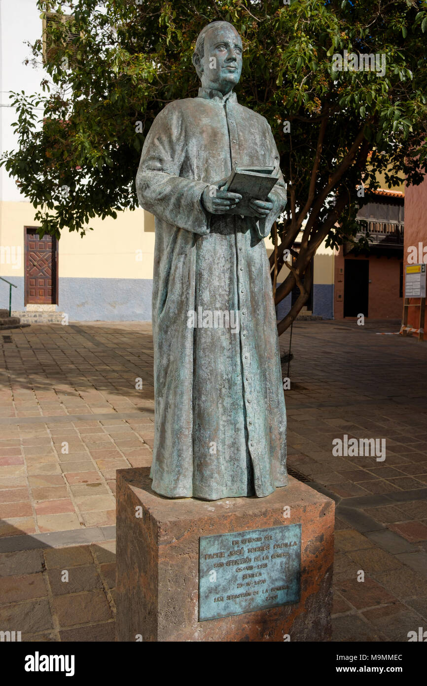 Monument to Father Jose Torres Padilla, San Sebastian de la Gomera, La Gomera, Canary Islands, Spain - Stock Image
