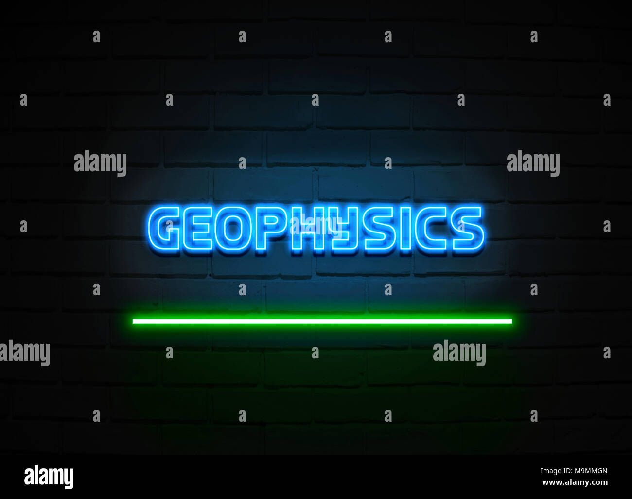 Geophysics neon sign - Glowing Neon Sign on brickwall wall - 3D rendered royalty free stock illustration. - Stock Image