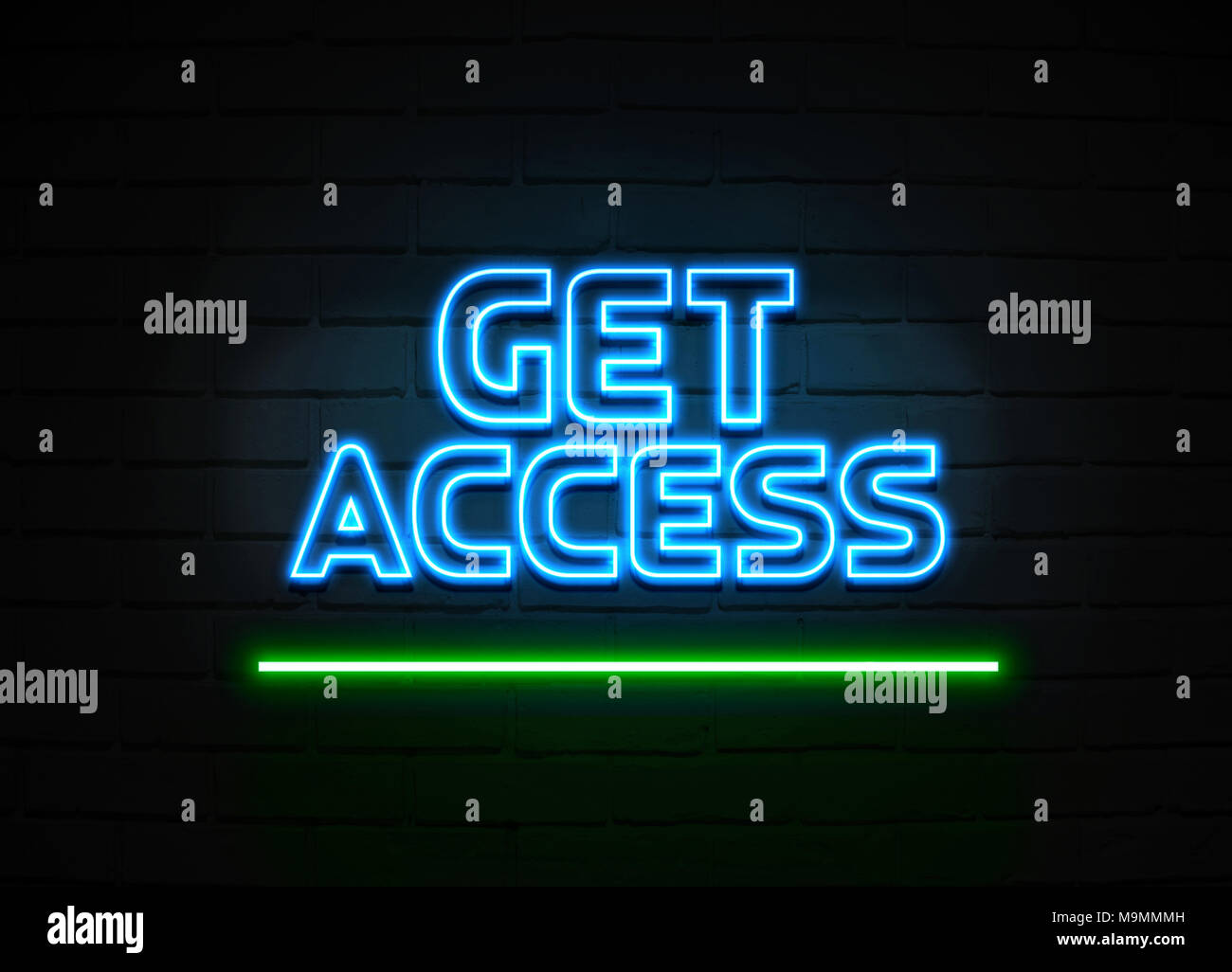 Get Access neon sign - Glowing Neon Sign on brickwall wall - 3D