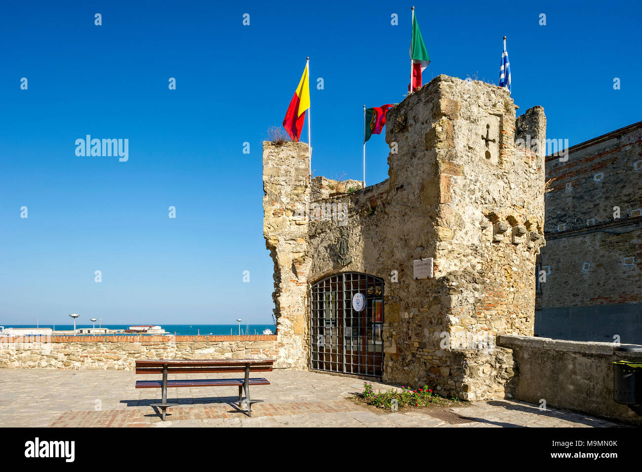 Tower of the southern bastion, Belvedere Torretta, today Tourist Info Point, Old Town, Lungomare Colombo, Region Molise, Italy - Stock Image