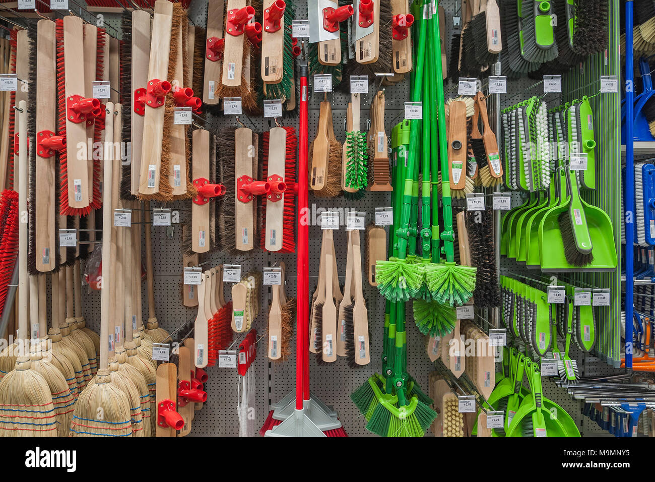 Brooms and brushes, hardware store, interior, Bavaria, Germany - Stock Image