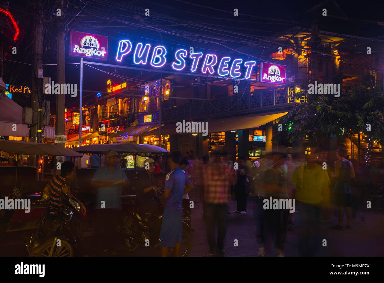Neon lights, lettering Nightmarket, Pub Street by night, Nightlife, Siem Reap, Angkor, Cambodia - Stock Image
